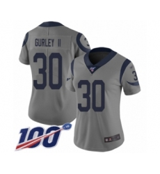 Women's Los Angeles Rams #30 Todd Gurley Limited Gray Inverted Legend 100th Season Football Jersey