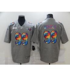 Men's Los Angeles Rams #99 Aaron Donald Gray Rainbow Version Nike Limited Jersey