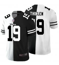 Men's Minnesota Vikings #19 Adam Thielen Black White Limited Split Fashion Football Jersey