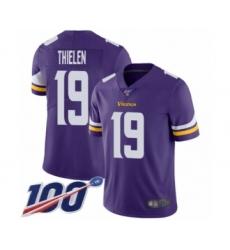 Men's Minnesota Vikings #19 Adam Thielen Purple Team Color Vapor Untouchable Limited Player 100th Season Football Jersey