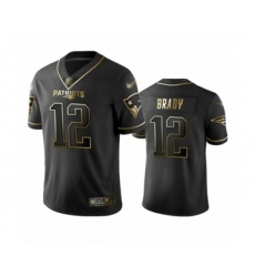 Men's New England Patriots #12 Tom Brady Limited Black Golden Edition Football Jersey