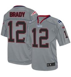Men's Nike New England Patriots #12 Tom Brady Elite Lights Out Grey NFL Jersey