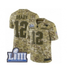 Men's Nike New England Patriots #12 Tom Brady Limited Camo 2018 Salute to Service Super Bowl LIII Bound NFL Jersey
