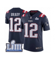 Men's Nike New England Patriots #12 Tom Brady Limited Navy Blue Rush Vapor Untouchable Super Bowl LIII Bound NFL Jersey