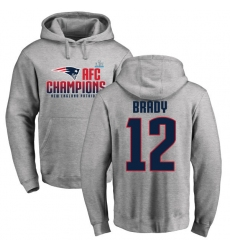 Nike New England Patriots #12 Tom Brady Heather Gray 2017 AFC Champions Pullover Hoodie
