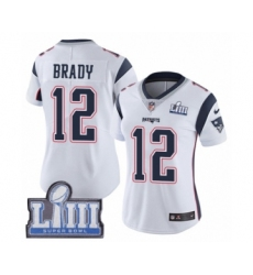Women's Nike New England Patriots #12 Tom Brady White Vapor Untouchable Limited Player Super Bowl LIII Bound NFL Jersey