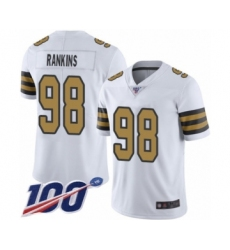 Men's New Orleans Saints #98 Sheldon Rankins Limited White Rush Vapor Untouchable 100th Season Football Jersey