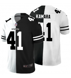 Men's New Orleans Saints #41 Alvin Kamara Black White Limited Split Fashion Football Jersey