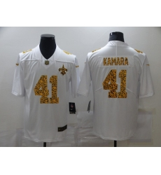Men's New Orleans Saints #41 Alvin Kamara White Nike Leopard Print Limited Jersey