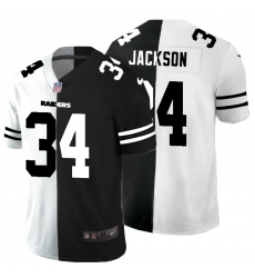 Men's Oakland Raiders #34 Bo Jackson Black White Limited Split Fashion Football Jersey