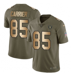 Men's Nike Oakland Raiders #85 Derek Carrier Limited Olive Gold 2017 Salute to Service NFL Jersey
