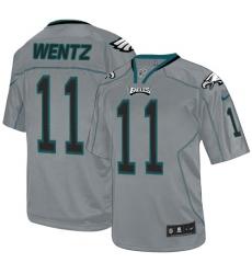 Men's Nike Philadelphia Eagles #11 Carson Wentz Elite Lights Out Grey NFL Jersey