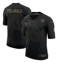Men's Pittsburgh Steelers #43 Troy Polamalu Black Nike 2020 Salute To Service Limited Jersey