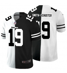 Men's Pittsburgh Steelers #19 JuJu Smith-Schuster Black White Limited Split Fashion Football Jersey