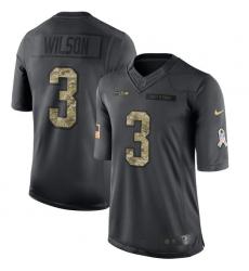 Men's Nike Seattle Seahawks #3 Russell Wilson Limited Black 2016 Salute to Service NFL Jersey
