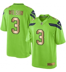 Men's Nike Seattle Seahawks #3 Russell Wilson Limited Green/Gold Rush NFL Jersey