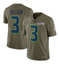 Men's Nike Seattle Seahawks #3 Russell Wilson Limited Olive 2017 Salute to Service NFL Jersey