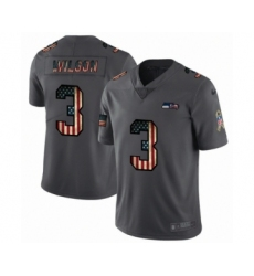 Men's Seattle Seahawks #3 Russell Wilson Limited Black USA Flag 2019 Salute To Service Football Jersey
