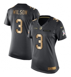 Women's Nike Seattle Seahawks #3 Russell Wilson Limited Black/Gold Salute to Service NFL Jersey