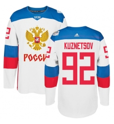 Men's Adidas Team Russia #92 Evgeny Kuznetsov Premier White Home 2016 World Cup of Hockey Jersey