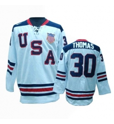 Men's Nike Team USA #30 Tim Thomas Authentic White 1960 Throwback Olympic Hockey Jersey