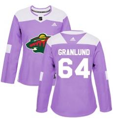 Women's Adidas Minnesota Wild #64 Mikael Granlund Authentic Purple Fights Cancer Practice NHL Jersey