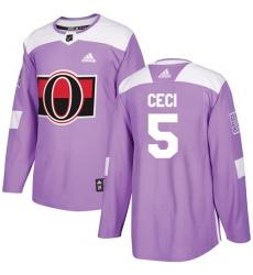 Men's Adidas Ottawa Senators #5 Cody Ceci Authentic Purple Fights Cancer Practice NHL Jersey