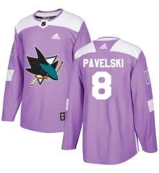 Youth Adidas San Jose Sharks #8 Joe Pavelski Authentic Purple Fights Cancer Practice NHL Jersey