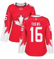 Women's Adidas Team Canada #16 Jonathan Toews Authentic Red Away 2016 World Cup Hockey Jersey