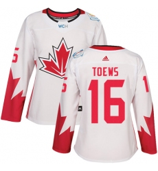 Women's Adidas Team Canada #16 Jonathan Toews Authentic White Home 2016 World Cup Hockey Jersey