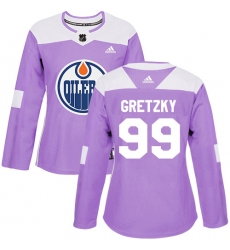 Women's Adidas Edmonton Oilers #99 Wayne Gretzky Authentic Purple Fights Cancer Practice NHL Jersey