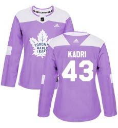 Women's Adidas Toronto Maple Leafs #43 Nazem Kadri Authentic Purple Fights Cancer Practice NHL Jersey