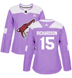 Women's Adidas Arizona Coyotes #15 Brad Richardson Authentic Purple Fights Cancer Practice NHL Jersey