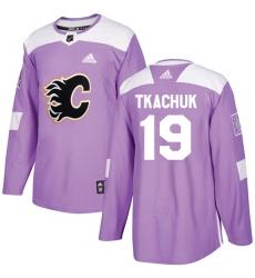 Youth Reebok Calgary Flames #19 Matthew Tkachuk Authentic Purple Fights Cancer Practice NHL Jersey