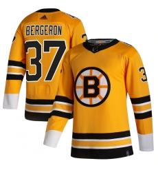 Men's Boston Bruins #37 Patrice Bergeron adidas Yellow 2020-21 Reverse Retro Authentic Player Jersey