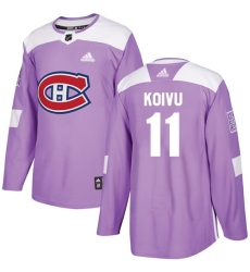 Youth Adidas Montreal Canadiens #11 Saku Koivu Authentic Purple Fights Cancer Practice NHL Jersey