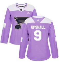 Women's Adidas St. Louis Blues #9 Scottie Upshall Authentic Purple Fights Cancer Practice NHL Jersey