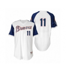 Men's Ender Inciarte Braves #11 White 1974 Turn Back the Clock Authentic Jersey