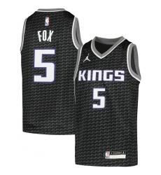 Youth Sacramento Kings #5 De'Aaron Fox Jordan Brand Black 2020-21 Swingman Player Jersey