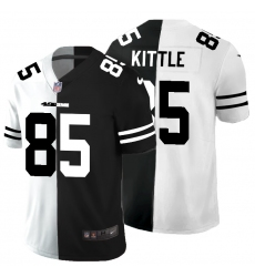 Men's San Francisco 49ers #85 George Kittle Black White Limited Split Fashion Football Jersey