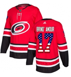 Youth Adidas Carolina Hurricanes #17 Rod Brind'Amour Authentic Red USA Flag Fashion NHL Jersey