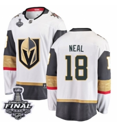 Men's Vegas Golden Knights #18 James Neal Authentic White Away Fanatics Branded Breakaway 2018 Stanley Cup Final NHL Jersey