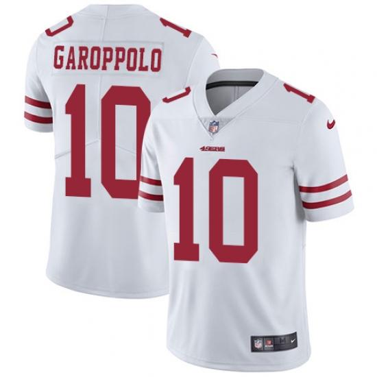 Men's Nike San Francisco 49ers #10 Jimmy Garoppolo White Vapor Untouchable Limited Player NFL Jersey