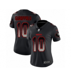Women's San Francisco 49ers #10 Jimmy Garoppolo Limited Black Smoke Fashion Football Jersey