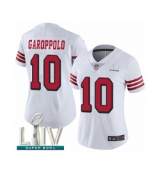 Women's San Francisco 49ers #10 Jimmy Garoppolo Limited White Rush Vapor Untouchable Super Bowl LIV Bound Football Jersey