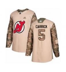 Men's New Jersey Devils #5 Connor Carrick Authentic Camo Veterans Day Practice Hockey Jersey