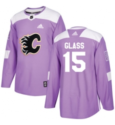 Men's Adidas Calgary Flames #15 Tanner Glass Authentic Purple Fights Cancer Practice NHL Jersey
