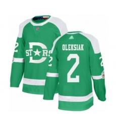 Men's Dallas Stars #2 Jamie Oleksiak Authentic Green 2020 Winter Classic Hockey Jersey