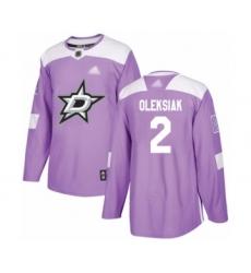Men's Dallas Stars #2 Jamie Oleksiak Authentic Purple Fights Cancer Practice Hockey Jersey