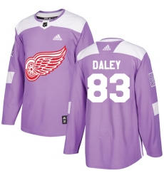 Men's Adidas Detroit Red Wings #83 Trevor Daley Authentic Purple Fights Cancer Practice NHL Jersey